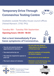 Ty Penallta covid test poster